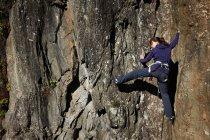 Donna arrampicata su roccia — Foto stock