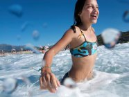 Girl at Beach,swimming in the Sea — Stock Photo