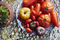 Выбор различных томатов — стоковое фото