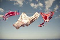 Купальники, висит на бельевой веревке с голубое небо, на фоне — стоковое фото