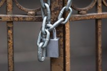 New padlock on metal gate — Stock Photo
