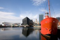 Waterfront with lightship view — Stock Photo