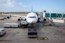 Отмечая мнение подготовка самолета на взлетно-посадочной полосы — стоковое фото