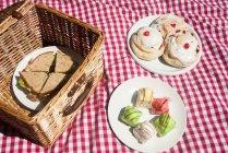 Cesto de piquenique com sanduíches e bolos — Fotografia de Stock