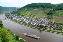 Aerial view of tour boat on the rhine — Stock Photo