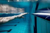 Обрезанный образ человека тренировки в бассейне — стоковое фото