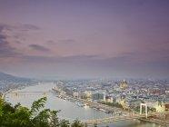 Skyline of Budapest from Gellert Hill at dusk, Hungary — Stock Photo