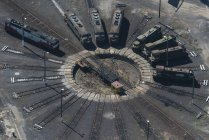 Aerial view of trains on turntable, Port Melbourne, Melbourne, Victoria, Australia — Stock Photo