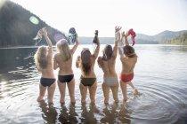 Вид сзади на молодых женщин, снимающих топы в бикини, Lost Lake, Орегон, США — стоковое фото