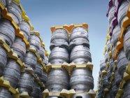Stacked beer barrels — Stock Photo