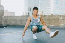 Man breakdancing on concrete floor, Boston, Massachusetts, USA — Stock Photo