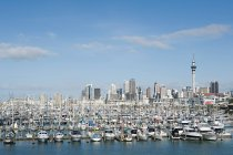 Moored boats and Auckland skyline on background — Stock Photo