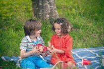 Mädchen beschenkt bei Geburtstagspicknick — Stockfoto