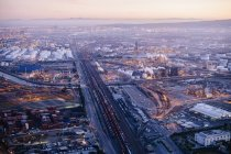 View of oil refinery at evening — Stock Photo