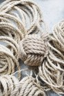 Rustic sisal rope ball on table — Stock Photo