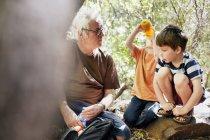 Padre e i suoi figli che giocano nella foresta — Foto stock