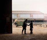 Femme d'affaires serrant la main du fermier — Photo de stock