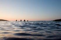 Cuatro personas sentadas en tablas de surf - foto de stock