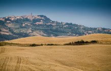 Los campos a cosechar y la ciudad en la cima de la colina - foto de stock
