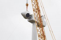 Low angle view of wind turbine erecting on sky — Stock Photo