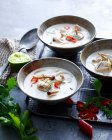 Bowls of fish soup — Stock Photo
