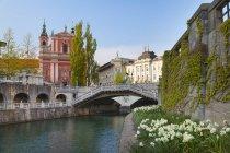 Tromostovje bridge and Franciscan Church of Annunciation, Ljubljana, Slovenia — Stock Photo