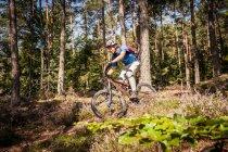 Montagna dell'uomo in bicicletta attraverso la foresta — Foto stock