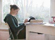 Sixteen year old girl studying and writing notes next to window — Stock Photo
