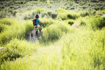 Vue arrière du petit garçon faisant du vélo dans le parc, Sandy, Utah, USA — Photo de stock