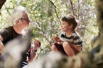 Отец и его сыновья играют в лесу — стоковое фото