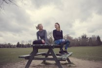 Women wearing sports clothing sitting on picnic table chatting — Stock Photo
