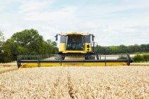 Harvesters working in crop field — Stock Photo