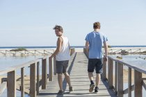 Full length rear view of young men walking on wooden pier, looking over shoulder, Sardinia, Italy — Stock Photo