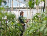 Female Garden Worker Inspecting Plants — Stock Photo