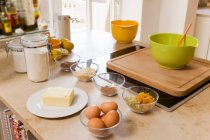 Ingredients for baking on kitchen counter — Stock Photo