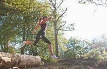 Frau läuft im Park, Blick in den niedrigen Winkel — Stockfoto