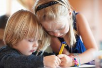 Children drawing indoors, focus on foreground — Stock Photo