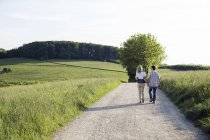 Rear view of mature couple strolling on country lane — Stock Photo