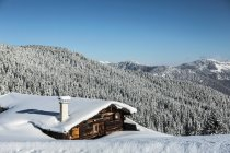 Log cabin on mountainside — Stock Photo