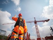 Rear view of male worker directing cranes under blue sky — Stock Photo