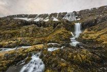 Vista panoramica della cascata di Dynjandi, Westfjords, Islanda — Foto stock
