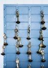Chiavi appese a ganci su parete blu — Foto stock