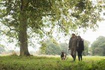Casal sênior andando cão, Norfolk, Reino Unido — Fotografia de Stock