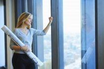Portrait of mature female architect with plans in skyscraper office, Brussels, Belgium — Stock Photo