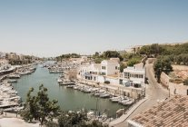 Elevated view of boats moored in harbour, Ciutadella, Menorca, Spain — Stock Photo