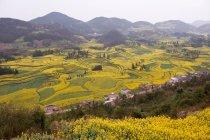 Vista da vila e campo terraços no vale — Fotografia de Stock