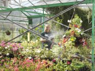 Female Watering Plants At Garden Center — Stock Photo