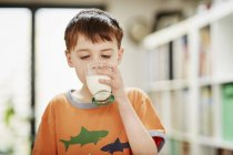 Young boy drinking glass of milk — Stock Photo