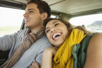 Young couple laughing whilst driving, Cape Town, Western Cape, South Africa — Stock Photo