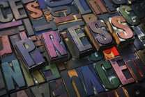 Letterpress letters spelling the word Press — Stock Photo